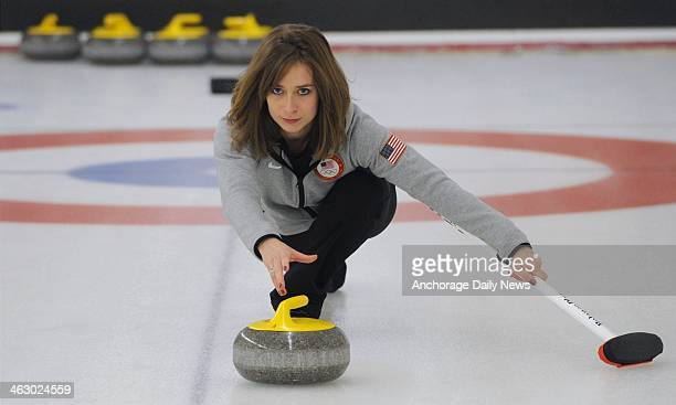 Twotime Olympian Jessica Schultz who was born and raised in Anchorage delivers a rock at the Anchorage Curling Club on Sunday Dec 22 2013 Schultz...