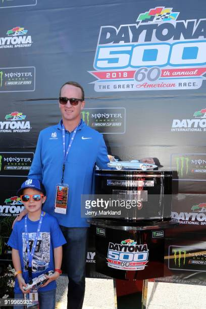 Twotime Super Bowl winning quarterback Peyton Manning and his son Marshall pose prior to the Monster Energy NASCAR Cup Series 60th Annual Daytona 500...