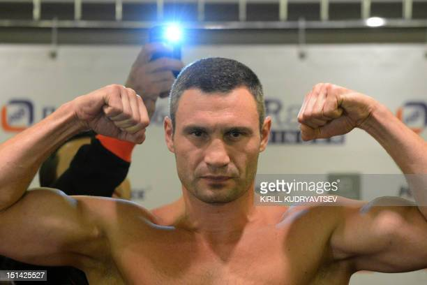 Twotime WBC World Heavyweight Champion Vitali Klitschko from the Ukraine poses for a photo in Moscow on September 7 during a weighting session with...