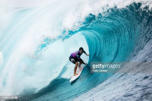 Twotime WSL Champion and defending event winner Gabriel Medina of Brazil advances to Round 4 of the 2019 Tahiti Pro Teahupo'o after winning Heat 11...