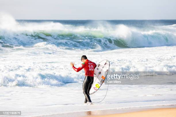 Two-time WSL Champion Gabriel Medina of Brazil surfing in Heat 1 of Round 4 of the Rip Curl Newcastle Cup presented by Corona on April 9, 2021 in...