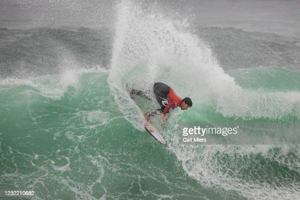 Two-time WSL Champion Gabriel Medina of Brazil surfing in Heat 1 of Quarterfinals of the Rip Curl Newcastle Cup presented by Corona on April 10, 2021...