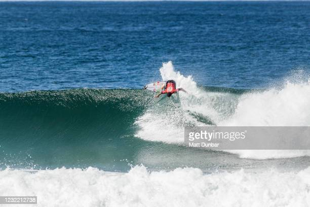 Two-time WSL Champion Gabriel Medina of Brazil surfing in Heat 1 of Semifinals of the Rip Curl Newcastle Cup presented by Corona on April 10, 2021 in...