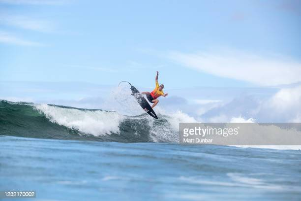 Two-time WSL Champion John John Florence of Hawaii in Heat 5 of Round 3 of the Rip Curl Newcastle Cup presented by Corona on April 8, 2021 in...