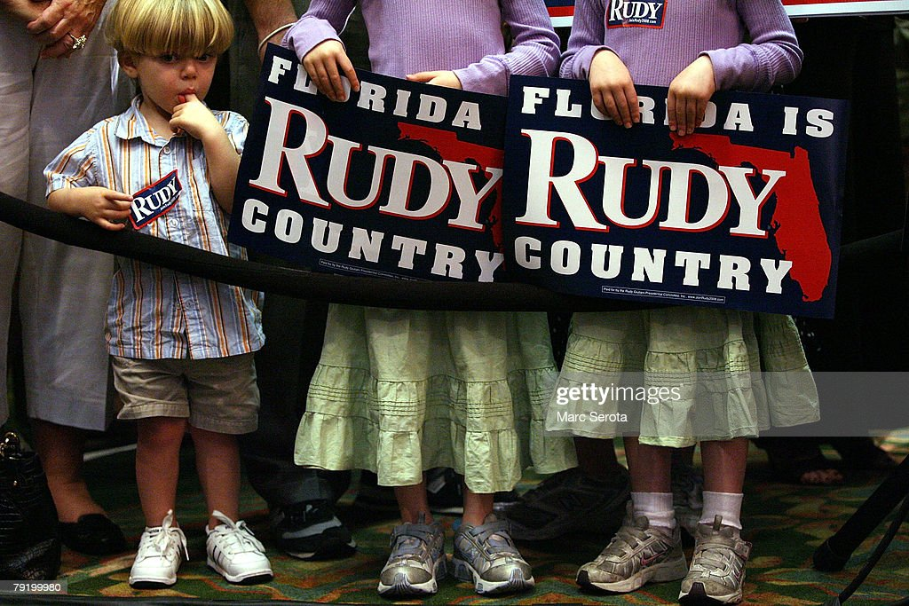 Two-year-old Uzi Mileyisky attends the Florida Leaderdhip Team Members rally for Republican Presidential hopeful and former Mayor of New York Rudy Giuliani January 24, 2008 ahead of the debate at the Embassy Suites in Boca Raton, Florida. Republicans will debate tonight at Florida Atlantic University in the run up to the January 29, Florida primary.