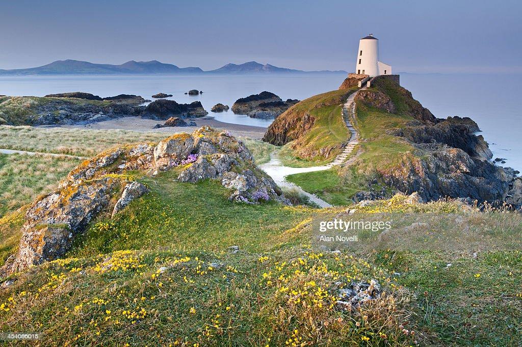 Twr Mawr Lighthouse on  Llanddwyn Island : Stock Photo