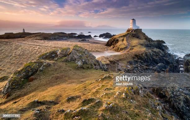 Twr Mawr Lighthouse & Twr Bach Beacon at sunrise, Llanddwyn Island, Anglesey, North Wales, UK