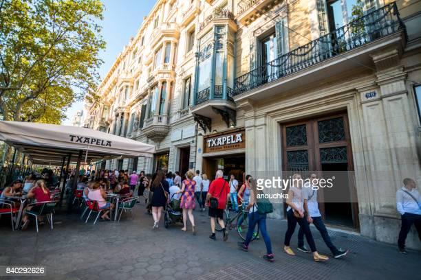 Txapela cafe at Passeig de Gracia, shopping street in Barcelona, Spain