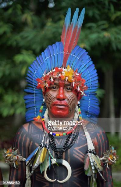 Txhale of the Fulnio tribe poses for a picture in Rio de Janeiro Brazil on April 14 2018 Brazil celebrates Indian Day every April 19 honouring the...