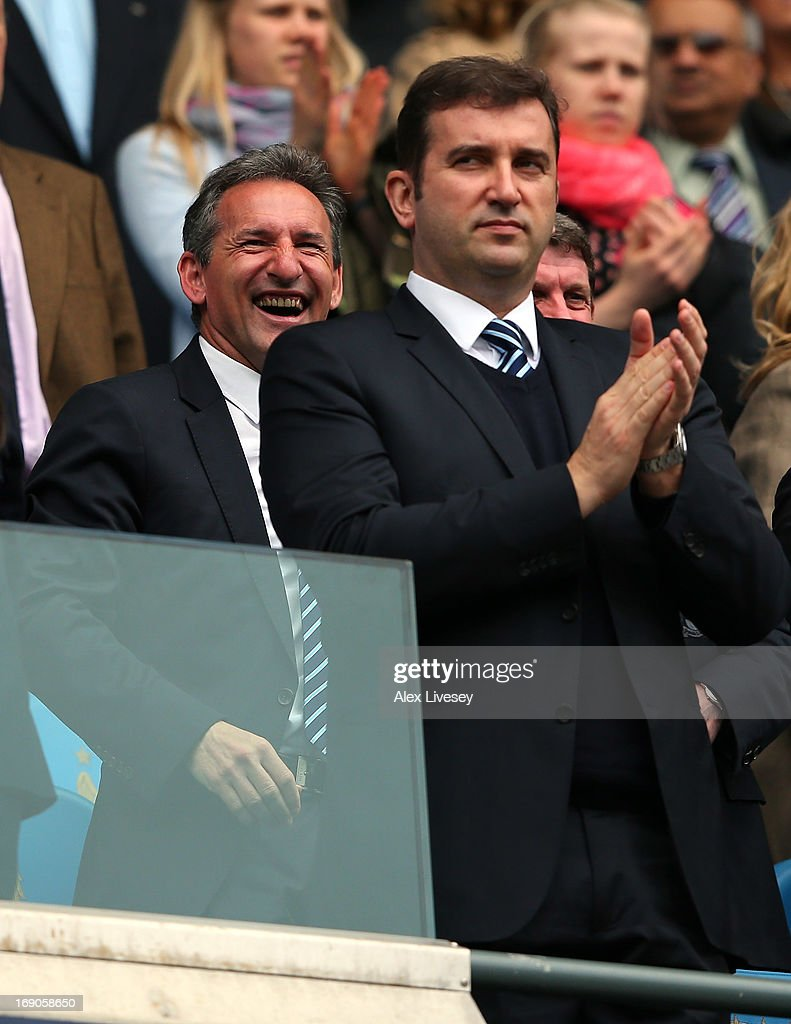 Txiki Begiristain the Director of Football at Manchester City and Ferran Soriano the CEO look on prior to the Barclays Premier League match between Manchester City and Norwich City at Etihad Stadium on May 19, 2013 in Manchester, England.