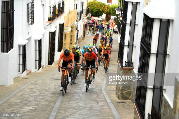 Txomin Juaristi of Spain and Team Fundación - Orbea / Brent Bookwalter of The United States and Team Mitchelton-Scott / Damiano Caruso of Italy Team...