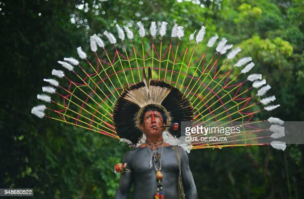 TOPSHOT Txoutlaka of the Fulnio tribe poses for a picture in Rio de Janeiro Brazil on April 14 2018 Brazil celebrates Indian Day every April 19...