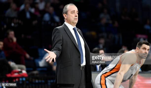 Txus Vidorreta Head Coach of Valencia Basket in action during the 2017/2018 Turkish Airlines EuroLeague Regular Season Round 21 game between Anadolu...