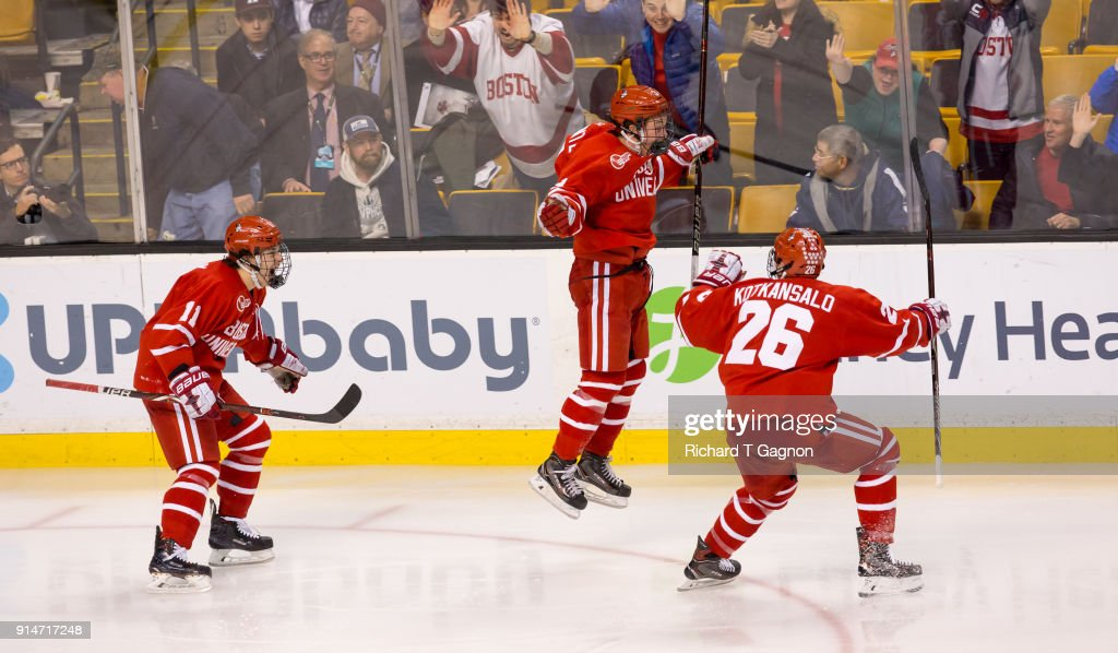 Ty Amonte #3 of the Boston University Terriers celebrates his goal in double overtime against the Harvard Crimson during NCAA hockey in the semifinals of the annual Beanpot Hockey Tournament at TD Garden on February 5, 2018 in Boston, Massachusetts. The Terriers won 3-2 in double overtime.