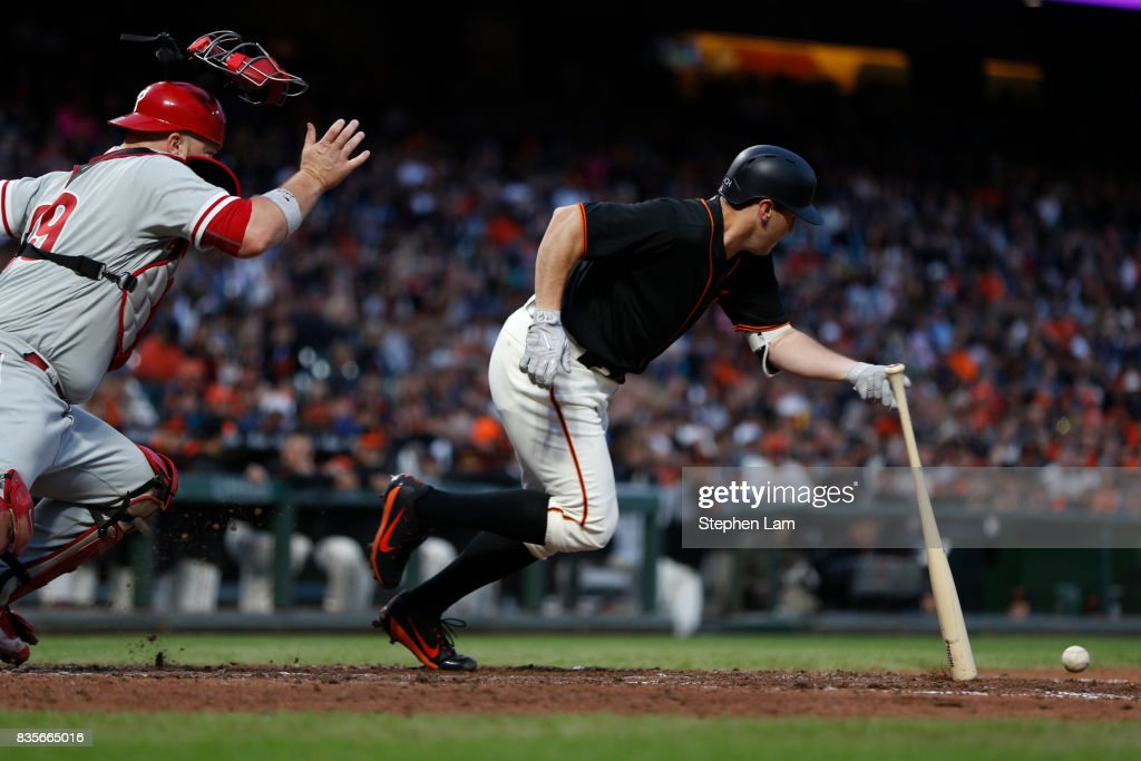 Ty Blach (50) bunts the ball during the fourth inning against the Philadelphia Phillies at AT&T Park on August 19, 2017 in San Francisco, California.