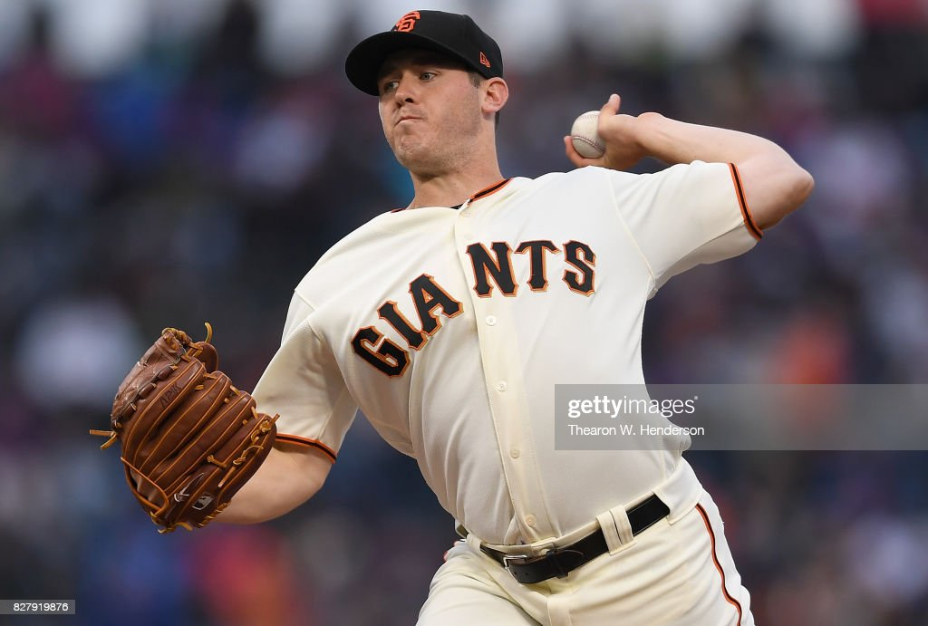 Ty Blach #50 of the San Francisco Giants pitches against the Chicago Cubs in the top of the first inning at AT&T Park on August 8, 2017 in San Francisco, California.
