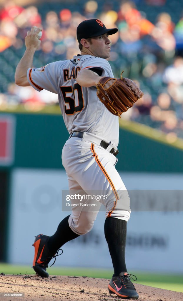 Ty Blach #50 of the San Francisco Giants pitches against the Detroit Tigers during the first inning at Comerica Park on July 5, 2017 in Detroit, Michigan. Blach recorded his sixth win, 5-4 over the Tigers.