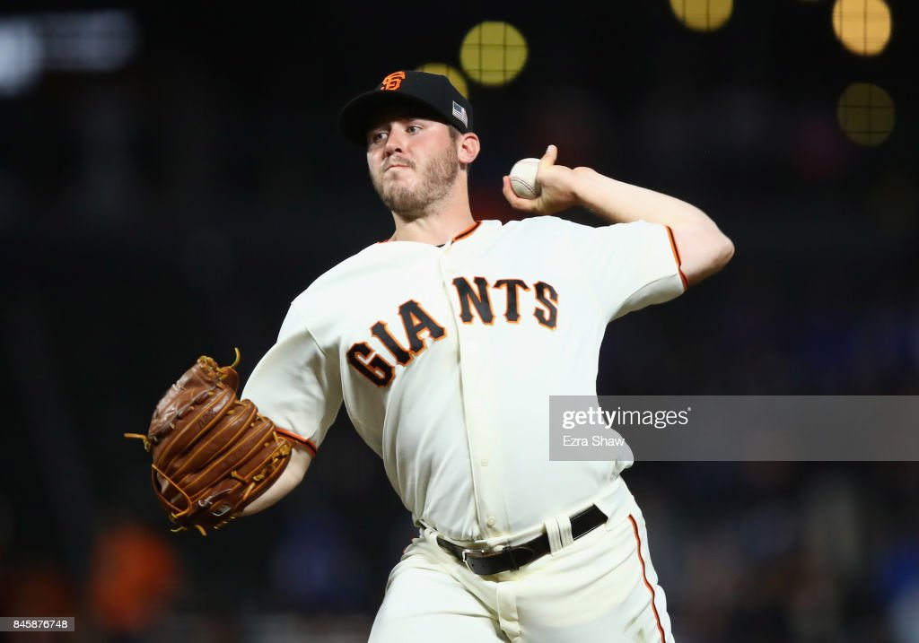 Ty Blach #50 of the San Francisco Giants pitches against the Los Angeles Dodgers in the first inning at AT&T Park on September 11, 2017 in San Francisco, California.
