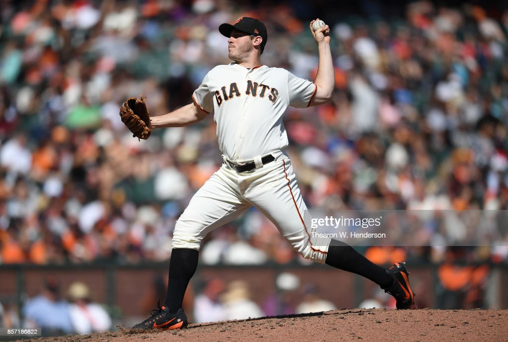 Ty Blach #50 of the San Francisco Giants pitches against the San Diego Padres in the top of the six inning at AT&T Park on October 1, 2017 in San Francisco, California.