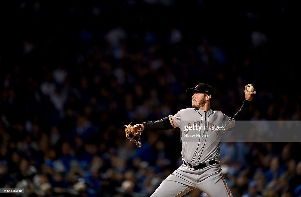 Ty Blach #50 of the San Francisco Giants pitches in the fifth inning against the Chicago Cubs at Wrigley Field on October 8, 2016 in Chicago, Illinois.