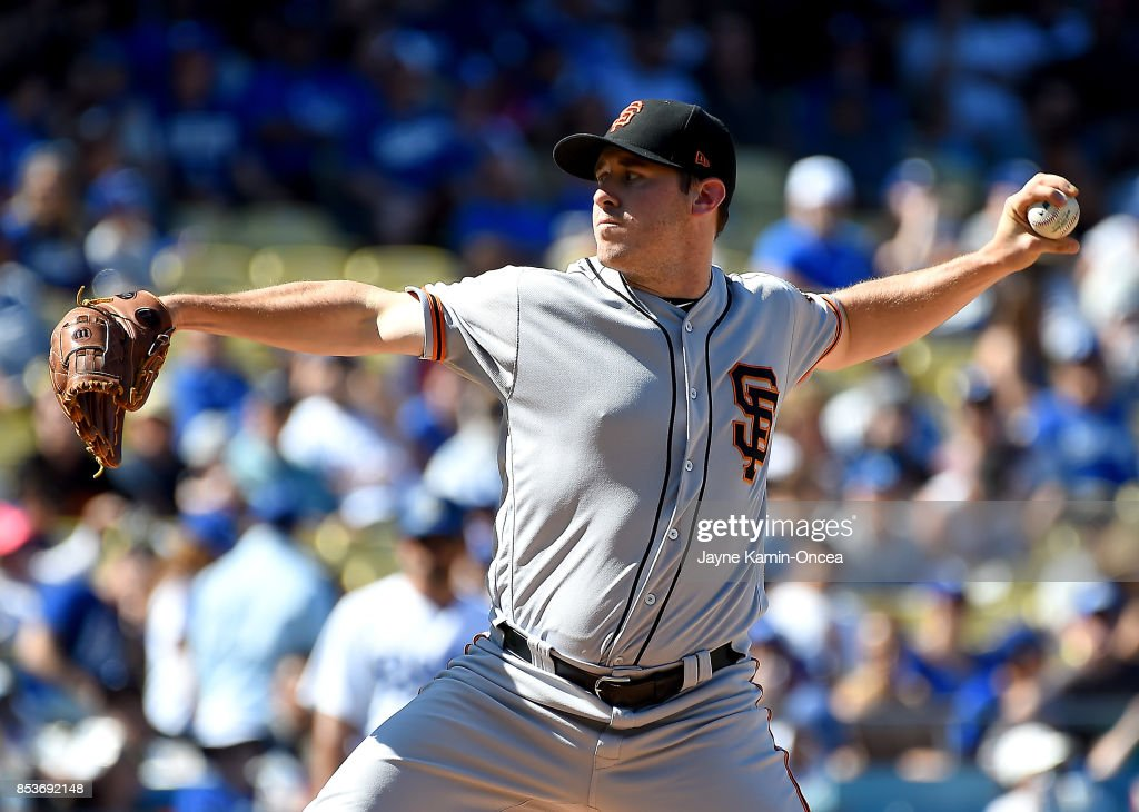 Ty Blach #50 of the San Francisco Giants pitches in the game against the Los Angeles Dodgers at Dodger Stadium on September 24, 2017 in Los Angeles, California.