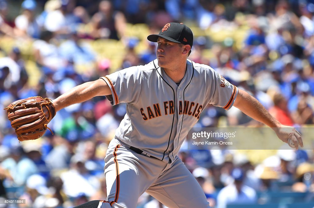 Ty Blach #50 of the San Francisco Giants pitches in the second inning against the Los Angeles Dodgers at Dodger Stadium on July 29, 2017 in Los Angeles, California.