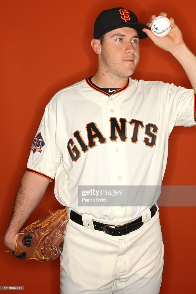 Ty Blach #50 of the San Francisco Giants poses on photo day during MLB Spring Training at Scottsdale Stadium on February 20, 2018 in Scottsdale, Arizona.