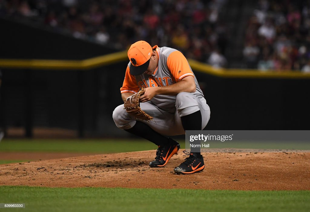 Ty Blach #50 of the San Francisco Giants prepares to pitch against the Arizona Diamondbacks at Chase Field on August 25, 2017 in Phoenix, Arizona.