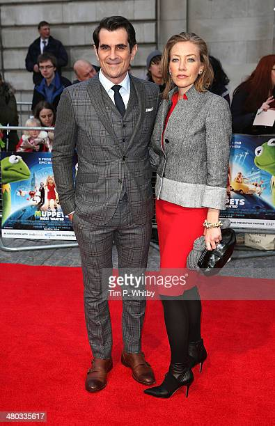 """Ty Burrell and Holly Burrell attend the VIP screening of """"The Muppets Most Wanted"""" at The Curzon Mayfair on March 24, 2014 in London, England."""