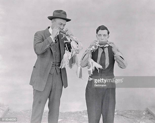 Ty Cobb and Buster Keaton Eating Corn on the Cob