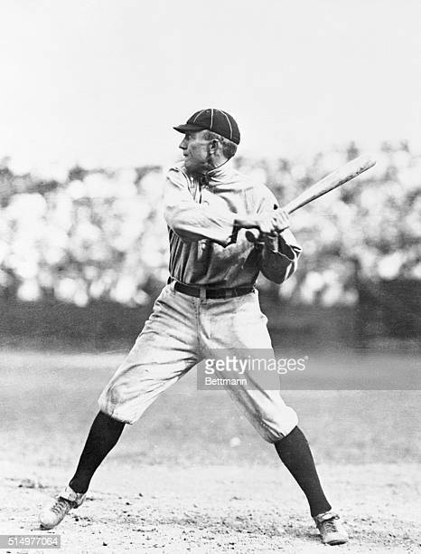 Ty Cobb at bat during a workout with the Detroit Tigers in 1921.