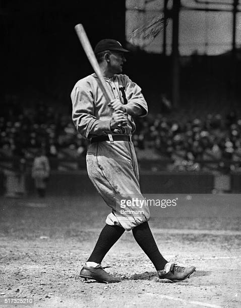 Ty Cobb at bat wearing baseball uniform. Undated photograph.