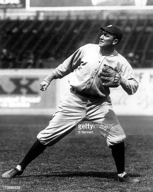 Ty Cobb of the Detroit Tigers fields the ball circa 1920 at Navin Field in Detroit, Michigan.