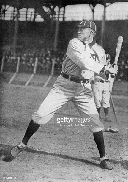 Ty Cobb of the Detroit Tigers takes batting practice at Navin Field in Detroit before a game in 1911.
