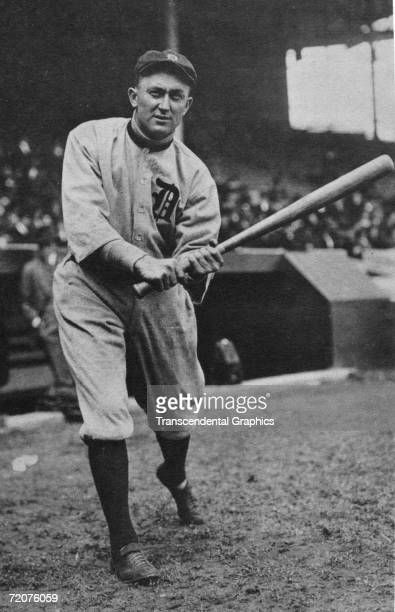 Ty Cobb, outfielder for the Detroit Tigers poses before a game at Bennett Park in Detroit in 1911.