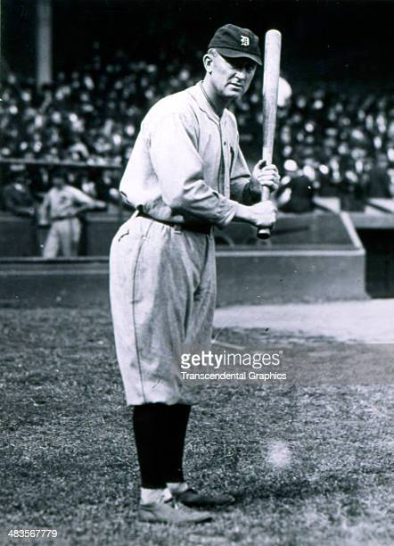 Ty Cobb poses for a Paul Thompson photographer before a game in 1920 in Navin Field in Detroit, Michigan.