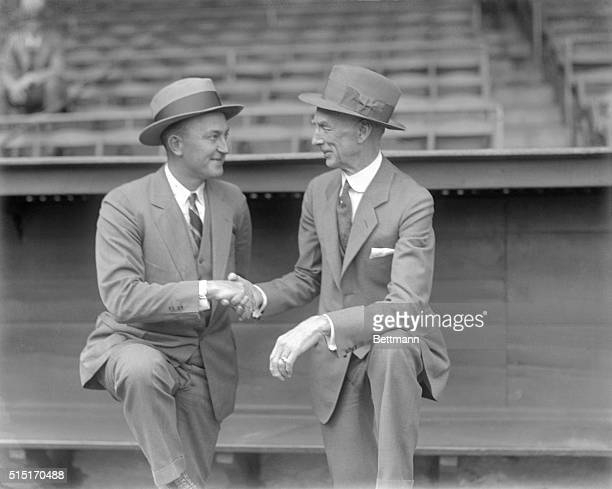 Ty Cobb veteran Star baseball Payer bidding farewell to Connie Mack manager of the Philadelphia Athletics with which team Cobb played in 1927 Cobb...