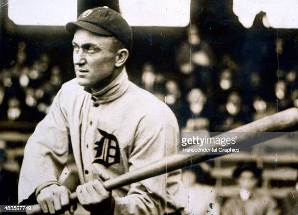 Ty Cobb watches a pitch in May of 1916 during a game in Navin Field in Detroit, Michign.