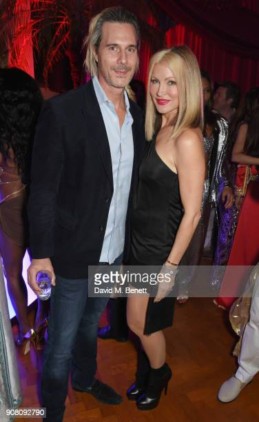 Ty Comfort and Caprice Bourret attend Lisa Tchenguiz's birthday party on January 20 2018 in London England