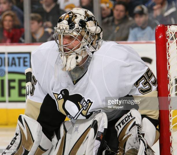 Ty Conklin of the Pittsburgh Penguins tends the goal against the Buffalo Sabres on February 17, 2008 at HSBC Arena in Buffalo, New York.