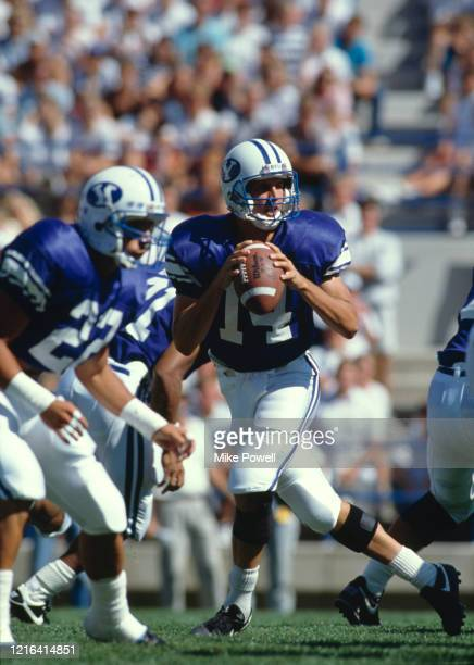 Ty Detmer, Quarterback for the Brigham Young University Cougars during the NCAA Western Athletic Conference college football game against the San...