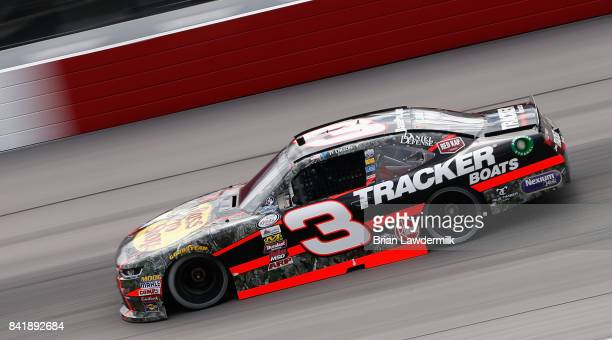 Ty Dillon driver of the Bass Pro Shops/Tracker Boats Chevrolet qualifies for the NASCAR XFINITY Series Sports Clips Haircuts VFW 200 at Darlington...