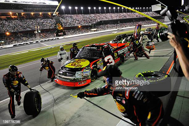 Ty Dillon driver of the Bass Pro Shops/Tracker Boats Chevrolet pits during the NASCAR Camping World Truck Series NextEra Energy Resources 250 at...
