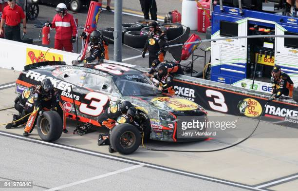 Ty Dillon driver of the Bass Pro Shops/Tracker Boats Chevrolet pits during the NASCAR XFINITY Series Sports Clips Haircuts VFW 200 at Darlington...