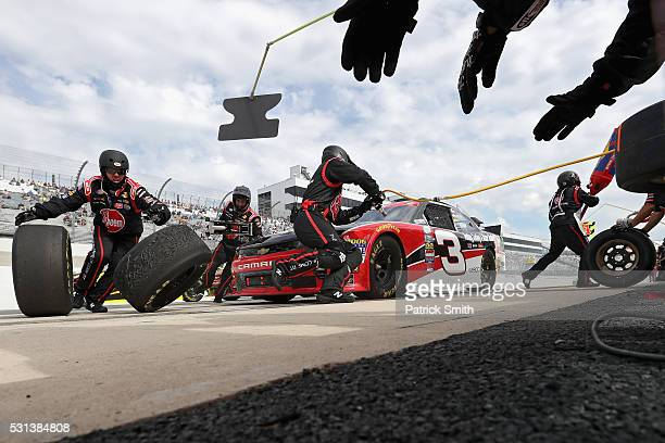 Ty Dillon driver of the Rheem Chevrolet comes in for a pit stop during the NASCAR XFINITY Series Ollie's Bargain Outlet 200 at Dover International...