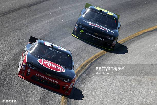 Ty Dillon driver of the Rheem Chevrolet leads Ryan Sieg driver of the RSS Racing Chevrolet during the NASCAR XFINITY Series Heads Up Georgia 250 at...