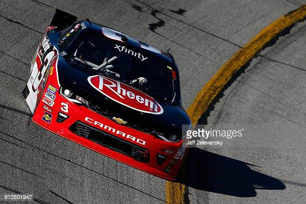 Ty Dillon driver of the Rheem Chevrolet practices for the NASCAR XFINITY Series Heads Up Georgia 250 at Atlanta Motor Speedway on February 26 2016 in...