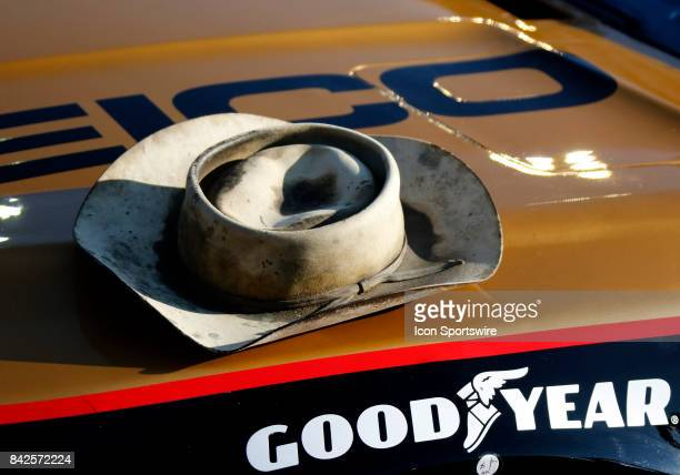 Ty Dillon Germain Motorsports GEICO Chevrolet SS with Smokey Yunichs Hat prior to the Bojangles Southern 500 on September 3 at Darlington Raceway in...