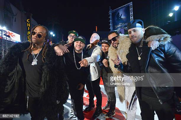 Ty Dolla $ign Lex Larson DJ Felli Fel actor/producer Vin Diesel Louie Rubio rapper French Montana and singer Nicky Jam attend the LA Premiere of the...