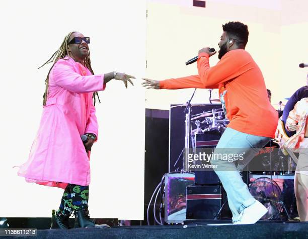Ty Dolla $ign performs with Khalid at Coachella Stage during the 2019 Coachella Valley Music And Arts Festival on April 21 2019 in Indio California